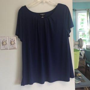 Liz claiborne Career woman navy pleat blouse shirt